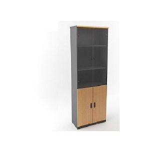 lemari arsip kayu pintu kaca
